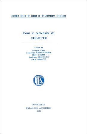Pour le centenaire de Colette
