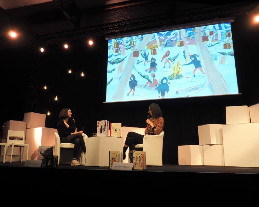 l'autrice et illustratrice jeunesse Marine Schneider en dialogue avec Fanny Deschamps des éditions Versant Sud