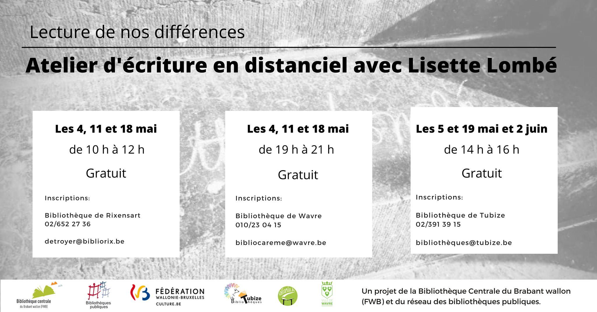 Lecture de nos différences. Atelier d'écriture virtuel avec Lisette Lombé