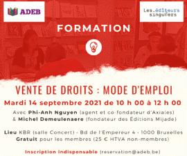 Formation ADEB et les Éditeurs singuliers: vente de droits, mode d'emploi